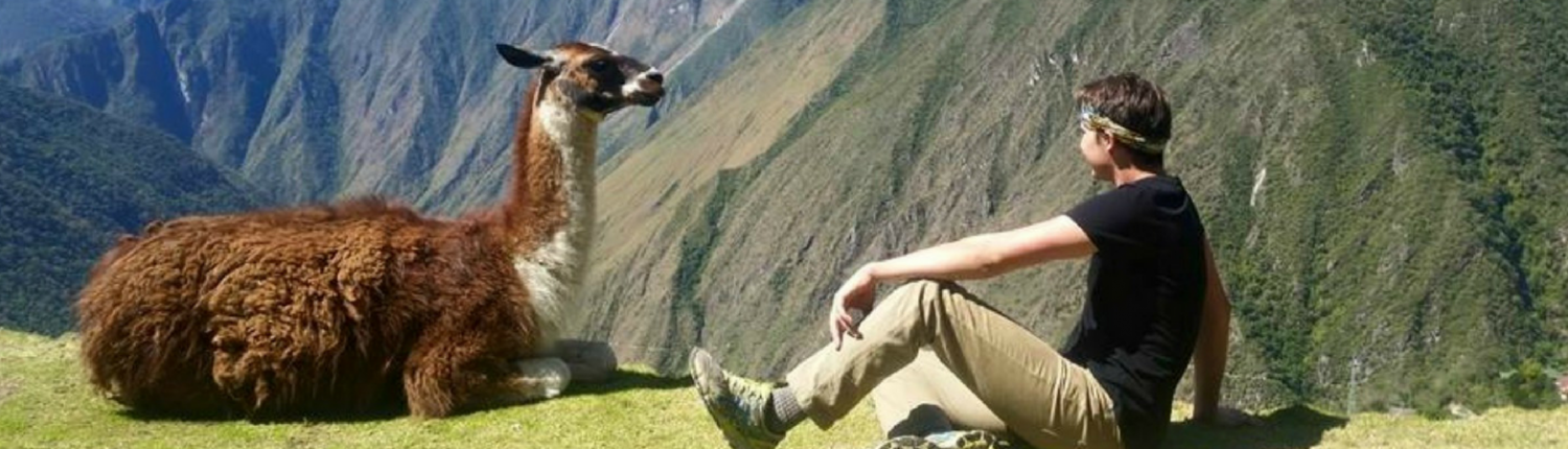 Medical student with llama in Peru
