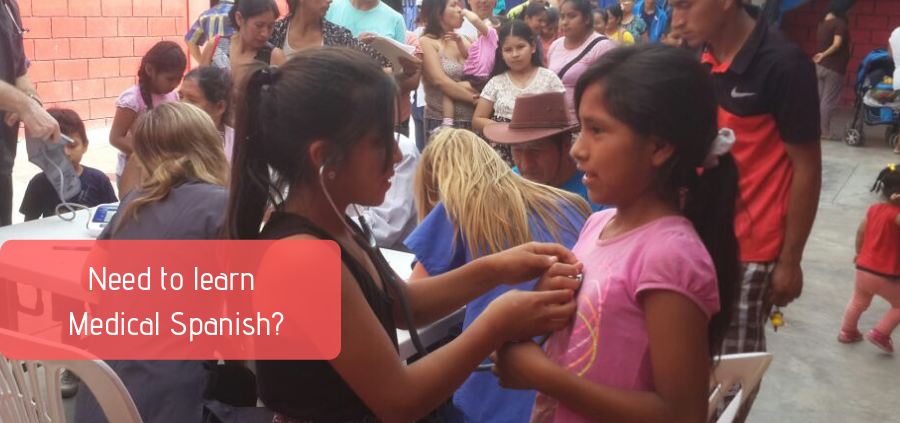 Two girls attending Community Health Fair in Peru